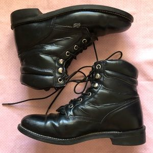 JUSTIN BASICS VTG WESTERN BLACK LEATHER BOOTS